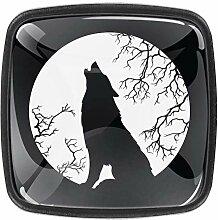 Wolf heulend auf dem Mond, quadratische Knöpfe,