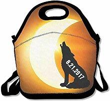 Wolf Howling Solar Eclipse Lunch Bag Tote Handbag