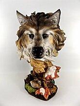 Wolf Kopf Büste Tierfigur Hund Skulptur Deko Tier