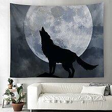 Wolf Mond Nachthimmel Wandteppich Fantasy Tier