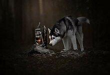 Wolf neben der Lampe Holz Spielzeug Erwachsene