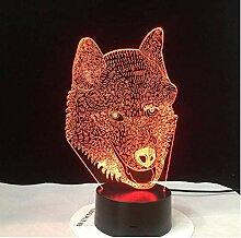Wolf Typ Amazing 3D LED Lampe Husky Dog LED
