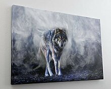 Wolf Wald Natur Grafik Design Leinwand Bild