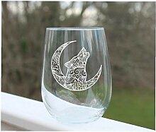 Wolf-Weinglas ohne Stiel, geätztes Wolf, mit