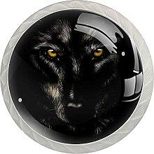 Wolf1 4 Stück Schranktürgriffe, Rundgriffe,