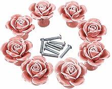 WOLFBUSH 8ST High-End-Elegante Rose Blume Keramik Möbelknopf Möbelknauf,Möbelknöpfe, Möbelgriff - Rosa