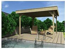 WOLFF, Holzpavillon Elba, flach, quadratisch, BxT: