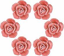 WOLFTEETH Rosafarbene Blumen-Drehknöpfe Rosa Kabinett-Küchenhandgriff-Schrank-Abziehvorrichtung-keramischer Zug 6pcs
