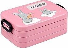 wolga-kreativ Brotdose Hase Wolke mit Namen rosa