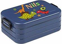 wolga-kreativ Brotdose Junge Dino mit Namen blau