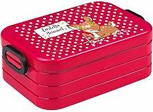 wolga-kreativ Brotdose Rehkitz mit Namen rot Mepal