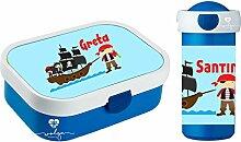 wolga-kreativ Set Pirat Piratenschiff Brotdose mit