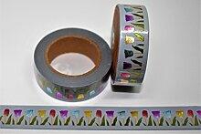 wolga-kreativ Washi Tape Blume Tulpe Golg Glitzer