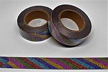 wolga-kreativ Washi Tape Einhorn Streifen Glitzer