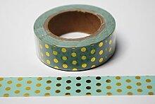 wolga-kreativ Washi Tape Punkte Gold/Mint Masking