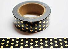 wolga-kreativ Washi Tape Tupfn Gold/schwarz