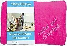 Wolimbo Kinderdecke mit Namen bestickt 100x150cm Microfaser - Farbe: pink - Flauschdecke