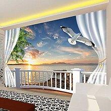 Wolipos 3D Tapete Wandbild Balkon-Vorhänge