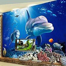 Wolipos 3D Tapete Wandbild Dolphin Unterwasser