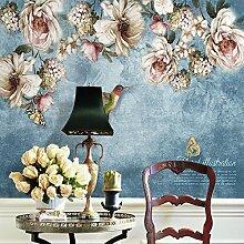 Wolipos 3D Tapete Wandbild Gemalte Blumen Vögel