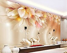 Wolipos 3D Tapete Wandbild Lilienblume Schwan