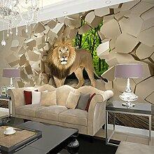 Wolipos 3D Tapete Wandbild Lion Broken Gemälde