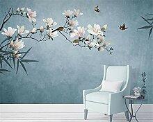 Wolipos 3D Tapete Wandbild Magnolien-Blumen-Vögel