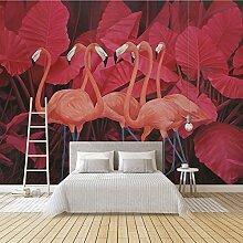 Wolipos 3D Tapete Wandbild Retro- Roter Tropischer