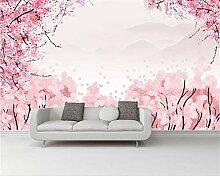 Wolipos 3D Tapete Wandbild Rosa Aquarell