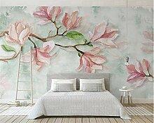 Wolipos 3D Tapete Wandbild Seidenstoff Magnolia