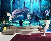 Wolipos 3D Tapete Wandbild Unterwasserwelt Dolphin