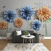Wolipos 3D Tapete Wandbild Vintage Ziegel Blume