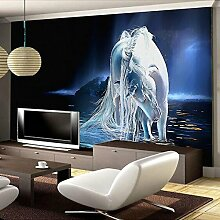 Wolipos 3D Tapete Wandbild White Horse Art Malerei