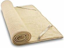 Woll-Plüschunterbett aus Schafschurwolle und Baumwolle 90x220 cm, Baumberger. Matratzenauflage, Matratzenschoner