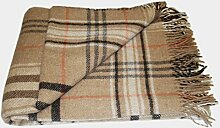 Wolldecke - 100% reine Merino Wolle (140cm x 200cm) Plaid Blanket Sofadecke Decke (Beige / Grau / Braun / Weiß / Orange)