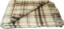 Wolldecke - 100% reine Merino Wolle (140cm x 200cm) Plaid Blanket Sofadecke Decke (Weiß / Hellbraun / Braun)