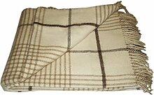 Wolldecke - 100% reine Merino Wolle (140cm x 200cm) Plaid Blanket Sofadecke Decke (Weiß / Beige / Helbraun #2)