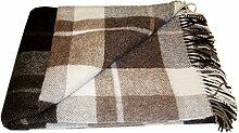 Wolldecke - 100% reine Merino Wolle (140cm x 200cm) Plaid Blanket Sofadecke Decke (Weiß / Helbraun / Braun #2)