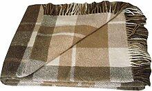 Wolldecke - 100% reine neuseeländische Wolle (140cm x 200cm) Plaid Blanket Sofadecke Decke (Weiß / Beige / Helbraun)