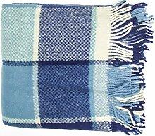 Wolldecke 100% Schafschurwolle 140x180cm, blau, Kuscheldecke