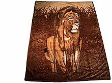 Wolldecke Anna Tiger für 1 Person ON-12 Polyester Wohndecke Kuscheldecke Decke