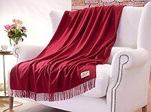 Wolldecke aus 50% Kaschmir und 50% Merinowolle in rot 130x190cm