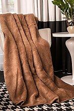 Wolldecke aus reiner Merino-Schafschurwolle Tagesdecke Bio-Wohlfühldecke 100% Wolle Braun 180x200cm