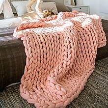 Wolldecke Jamicy®Neu Winter Warm Bed Blanket Hand Chunky Strickdecke Dick Wolle Bulky Stricken Wurf 6 Farben (100*100cm, Khaki)