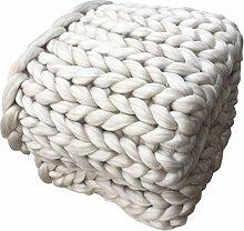 Wolldecke Jamicy®Neu Winter Warm Bed Blanket Hand Chunky Strickdecke Dick Wolle Bulky Stricken Wurf 6 Farben (100*120cm, Beige)