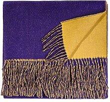 Wolldecke lila gelb zweifarbig Alpakadecke