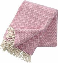 Wolldecke mit hell pinkfarbenen und cremefarbenen Zickzackstreifen 130x200cm aus Lambswool, ca 800 g