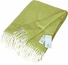 Wolldecke mit hellgrünen und cremefarbenen