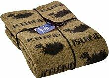 Wolldecke mit Island Schriftzug - moosgrün / schwarz Größe one size