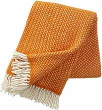 Wolldecke mit leuchtend orangen und cremefarbenen
